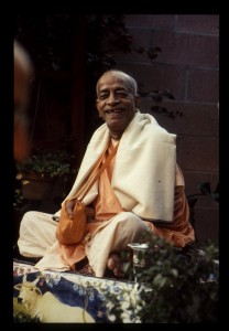 Prabhupada-happy-in-his-garden-in-Los-Angeles-USA