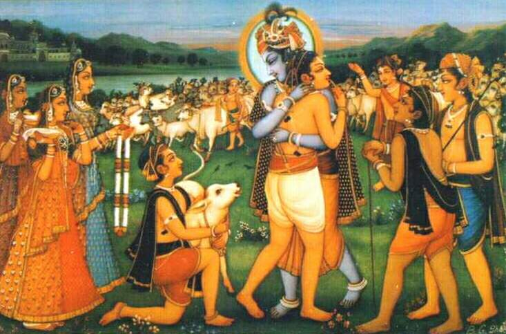 Krishna-embrases-his-devotee-as-he-Re-enters-Goloka-Vrindavana